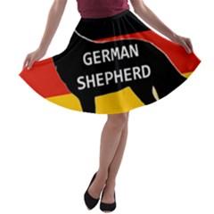 German Shepherd Name Silhouette On Flag Black A-line Skater Skirt