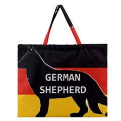 German Shepherd Name Silhouette On Flag Black Zipper Large Tote Bag
