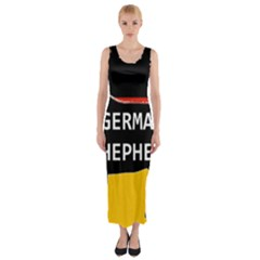 German Shepherd Name Silhouette On Flag Black Fitted Maxi Dress