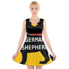 German Shepherd Name Silhouette On Flag Black V-Neck Sleeveless Skater Dress