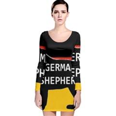 German Shepherd Name Silhouette On Flag Black Long Sleeve Velvet Bodycon Dress