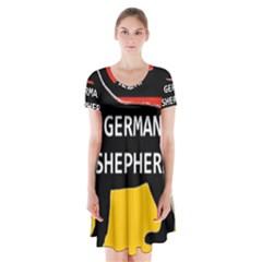 German Shepherd Name Silhouette On Flag Black Short Sleeve V-neck Flare Dress