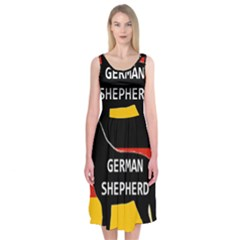 German Shepherd Name Silhouette On Flag Black Midi Sleeveless Dress