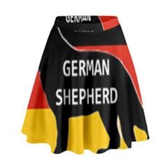 German Shepherd Name Silhouette On Flag Black High Waist Skirt