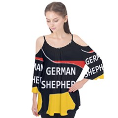 German Shepherd Name Silhouette On Flag Black Flutter Tees