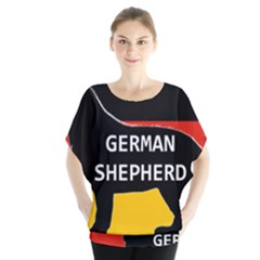 German Shepherd Name Silhouette On Flag Black Blouse