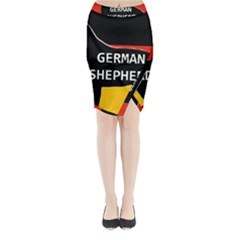 German Shepherd Name Silhouette On Flag Black Midi Wrap Pencil Skirt