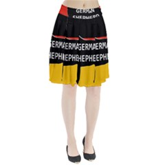 German Shepherd Name Silhouette On Flag Black Pleated Skirt