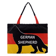 German Shepherd Name Silhouette On Flag Black Medium Tote Bag