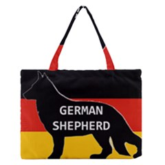 German Shepherd Name Silhouette On Flag Black Medium Zipper Tote Bag