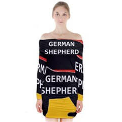 German Shepherd Name Silhouette On Flag Black Long Sleeve Off Shoulder Dress