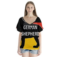 German Shepherd Name Silhouette On Flag Black Flutter Sleeve Top