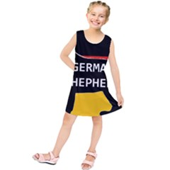 German Shepherd Name Silhouette On Flag Black Kids  Tunic Dress