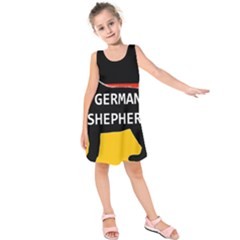 German Shepherd Name Silhouette On Flag Black Kids  Sleeveless Dress