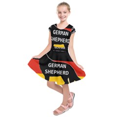 German Shepherd Name Silhouette On Flag Black Kids  Short Sleeve Dress