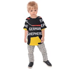 German Shepherd Name Silhouette On Flag Black Kids  Raglan Tee