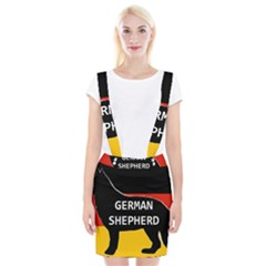 German Shepherd Name Silhouette On Flag Black Suspender Skirt