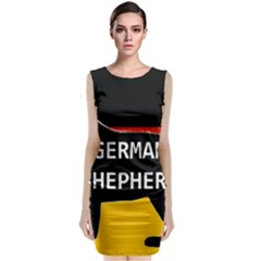 German Shepherd Name Silhouette On Flag Black Sleeveless Velvet Midi Dress