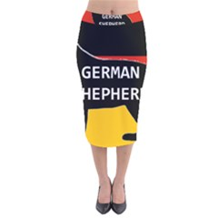 German Shepherd Name Silhouette On Flag Black Velvet Midi Pencil Skirt