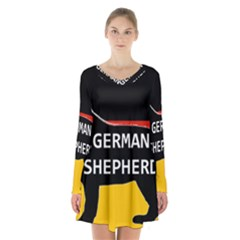 German Shepherd Name Silhouette On Flag Black Long Sleeve Velvet V-neck Dress