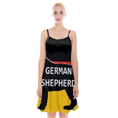 German Shepherd Name Silhouette On Flag Black Spaghetti Strap Velvet Dress