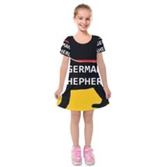 German Shepherd Name Silhouette On Flag Black Kids  Short Sleeve Velvet Dress