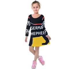 German Shepherd Name Silhouette On Flag Black Kids  Long Sleeve Velvet Dress