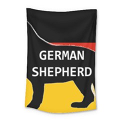 German Shepherd Name Silhouette On Flag Black Small Tapestry