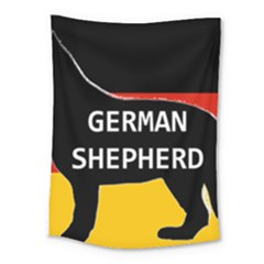German Shepherd Name Silhouette On Flag Black Medium Tapestry