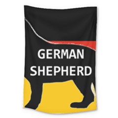 German Shepherd Name Silhouette On Flag Black Large Tapestry