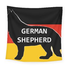 German Shepherd Name Silhouette On Flag Black Square Tapestry (Large)