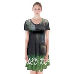Spoiled Rotten German Shepherd Short Sleeve V-neck Flare Dress