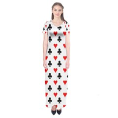 Curly Heart Card Red Black Gambling Game Player Short Sleeve Maxi Dress