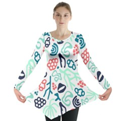Coral Leaf Flower Sea Long Sleeve Tunic