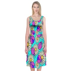 Bunga Matahari Serangga Flower Floral Animals Purple Yellow Blue Pink Midi Sleeveless Dress