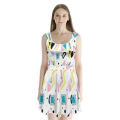 Design Elements Illustrator Elements Vasare Creative Scribble Blobs Yellow Pink Blue Split Back Mini Dress