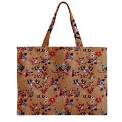 Deer Cerry Animals Flower Floral Leaf Fruit Brown Zipper Mini Tote Bag