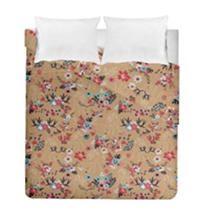 Deer Cerry Animals Flower Floral Leaf Fruit Brown Duvet Cover Double Side (full/ Double Size)