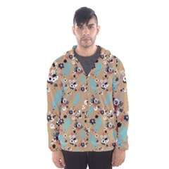 Deer Cerry Animals Flower Floral Leaf Fruit Brown Black Blue Hooded Wind Breaker (Men)