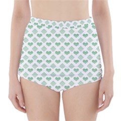 Diamond Heart Card Purple Valentine Love Blue Green High-Waisted Bikini Bottoms