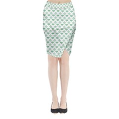 Diamond Heart Card Purple Valentine Love Blue Green Midi Wrap Pencil Skirt