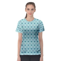 Diamond Heart Card Valentine Love Blue Women s Sport Mesh Tee