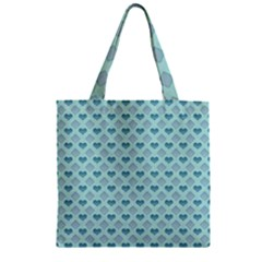 Diamond Heart Card Valentine Love Blue Zipper Grocery Tote Bag