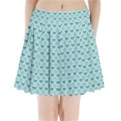 Diamond Heart Card Valentine Love Blue Pleated Mini Skirt