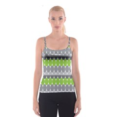 Egg Wave Chevron Green Grey Spaghetti Strap Top