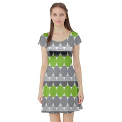 Egg Wave Chevron Green Grey Short Sleeve Skater Dress