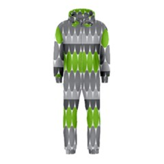 Egg Wave Chevron Green Grey Hooded Jumpsuit (Kids)