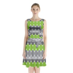 Egg Wave Chevron Green Grey Sleeveless Chiffon Waist Tie Dress