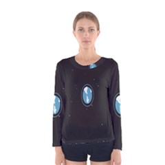 Earth Universe Natural Space Galaxy Women s Long Sleeve Tee