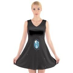 Earth Universe Natural Space Galaxy V-Neck Sleeveless Skater Dress